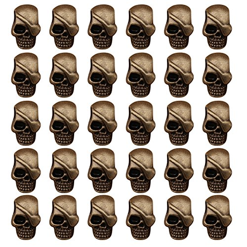 Mystart 30 Pieces One-Eyed Skeleton Skull Head Alloy Beads for DIY Jewelry Making Bracelet Pendant Paracord (Antique Bronze)