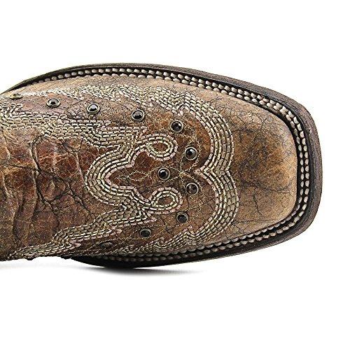 Scarpe Da Donna Con Borchie E Borchie Western Square Toe Stivali In Metallo Cognac
