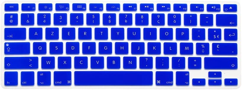 HQF Notebook SiliconeFrench Belgian Keyboard Skin Protection Laptop Layout for All Apple MacBook Air Pro 13 15 US Version Sea Blue French//English Keyboard Cover