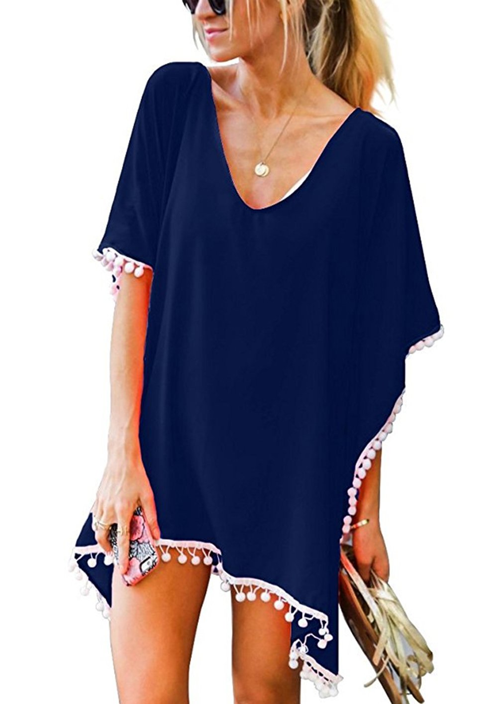 FIRSTLIKE Women's Pom Pom Trim Kaftan Chiffon Swimwear Beach Loose Bikini Cover Up Cute Beach Tunic Biquini Tankini Dress