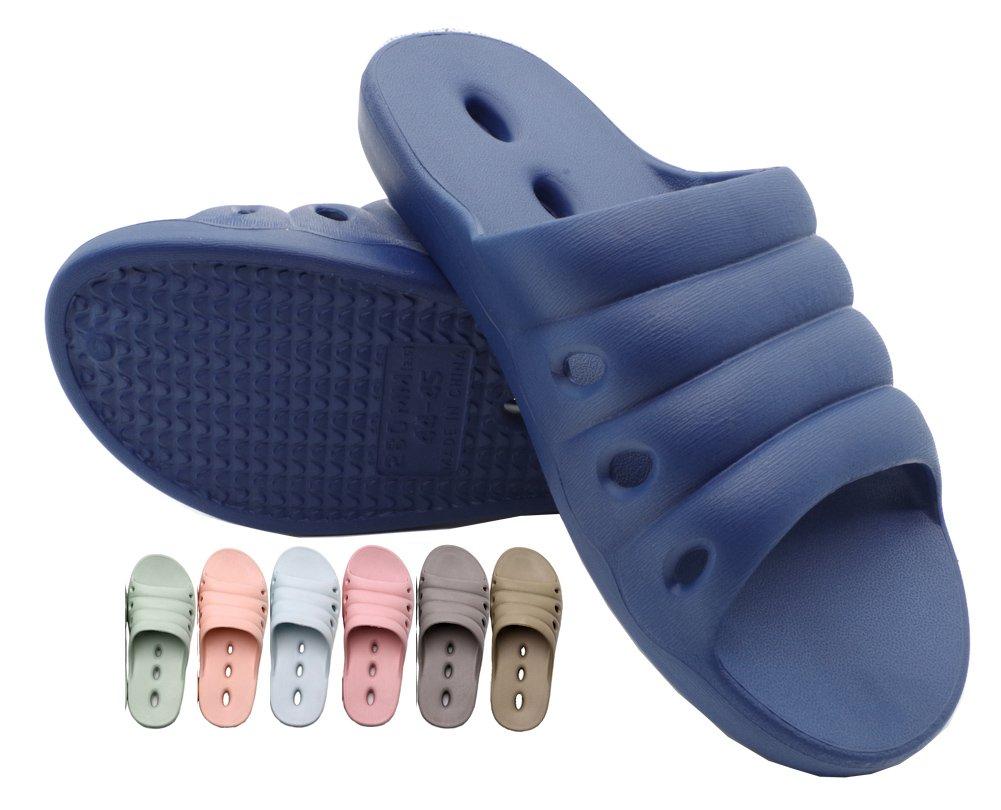 Shower Women Slippers Men Shoes Bathroom Massage Slipper Rubber Sandals Non Slip Plastic Indoor spa House Quick Beach Swimming Pool Soft Drying Summer Bedroom Blue 44 45