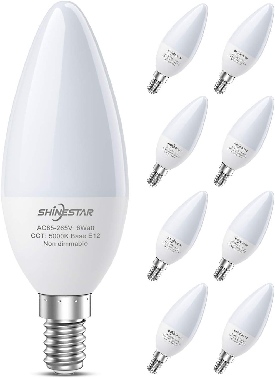 8-Pack E12 LED Bulbs for Ceiling Fan, 60W Equivalent Daylight Candelabra Base Light Bulb 5000K for Chandelier, Type B Bulb, Non-dimmable