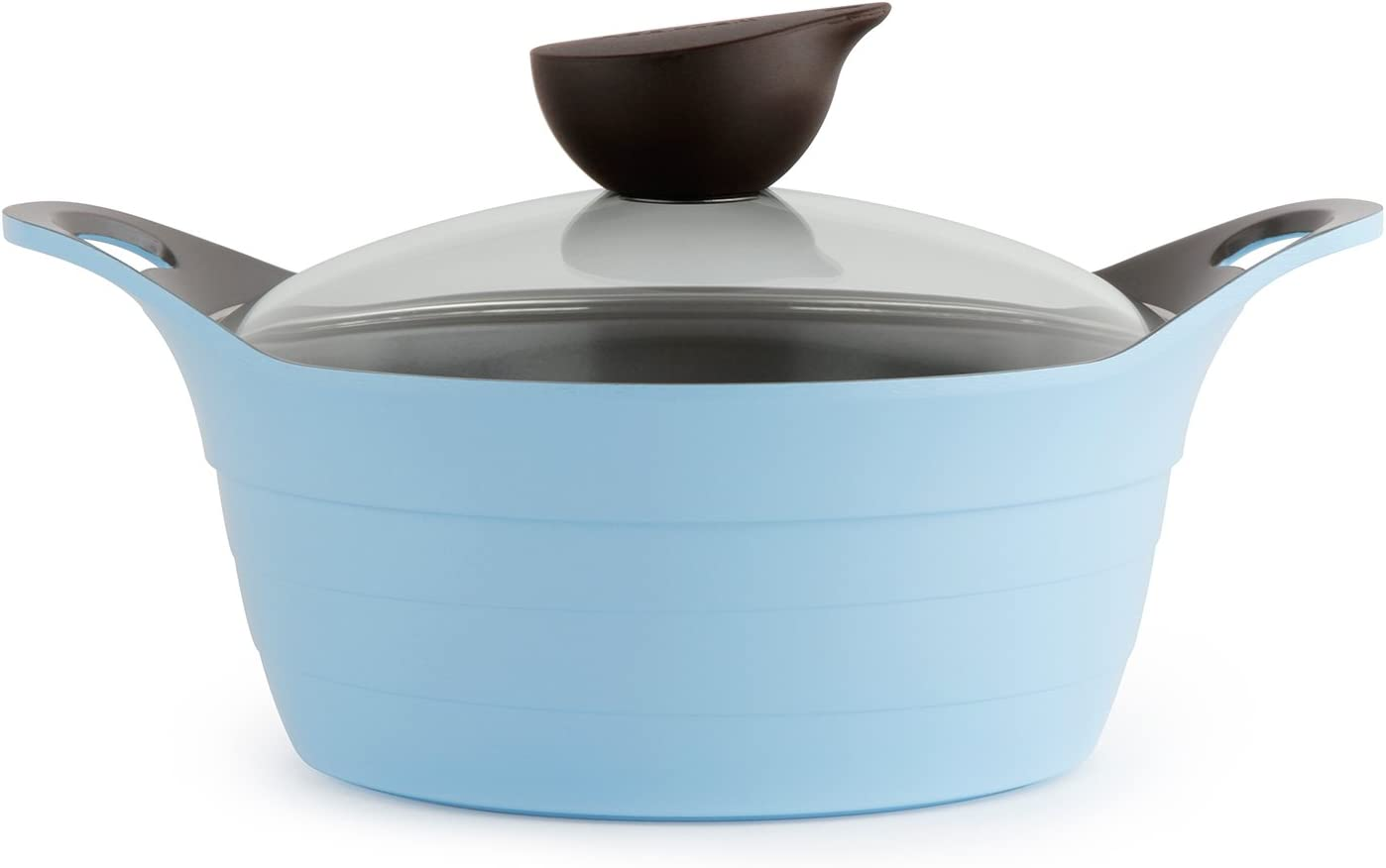 Neoflam Eela 2.5 QT Ceramic Nonstick Stockpot with Glass Lid in Light Blue