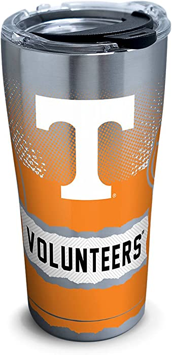 Tervis 1269592 Tennessee Volunteers Knockout Stainless Steel Tumbler with Clear and Black Hammer Lid 20oz, Silver