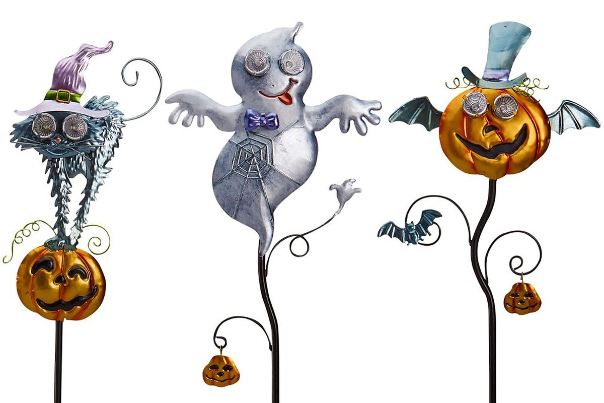 Goblin Guiders - Solar Powered Halloween Decorative Lights - Bundle of 3 - Friendly Ghost, Hair-Raising Cat and Winged Pumpkin by Original Treasures