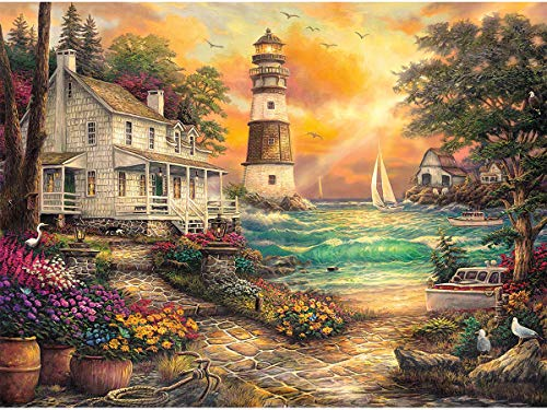 Cottage Sea (Twuky DIY 5D Diamond Painting by Number Kits, Crystal Rhinestone Diamond Embroidery Paintings Pictures Arts Craft for Home Wall Decor, Full Drill,Cottage by The Sea(14X18inch/35X45CM))