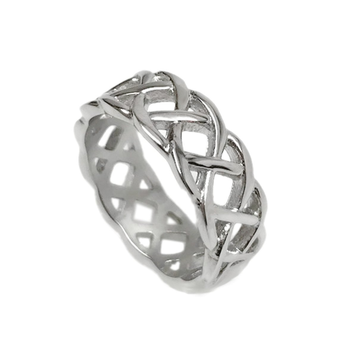 Mens Silver Braided Stainless Steel Celtic Knot Band Ring Love Wedding Non Tarnish (Size 12)