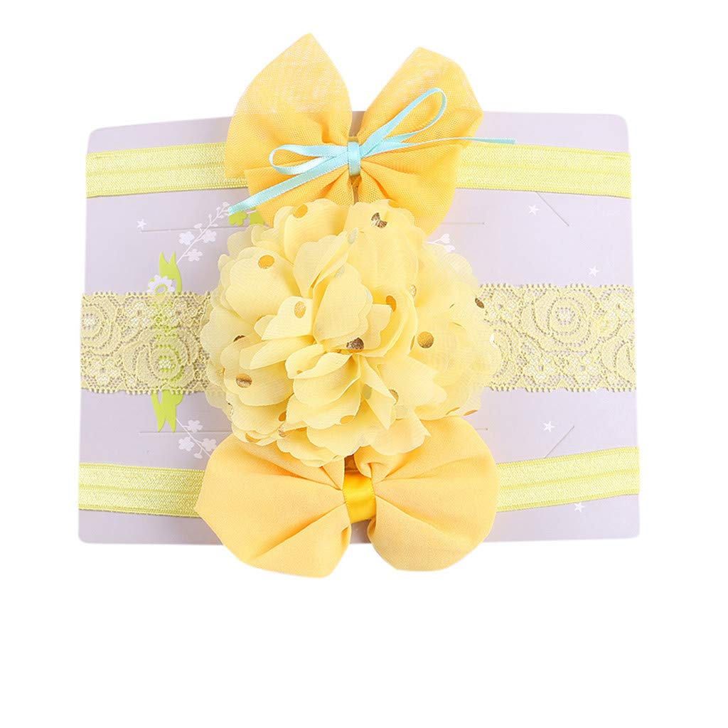 Shusuen 3Pcs Baby Girl's Headbands with Chiffon Camellia Elastic Bowknot Accessories Hairband Set Take Photos