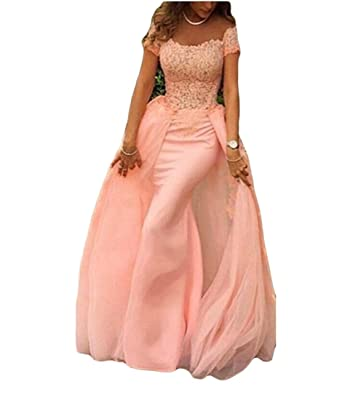 VikDressy Womens Detachable Blush Pink Mermaid Lace Appliques Prom Dress Off Shoulder Chiffon Tulle Evening Gown