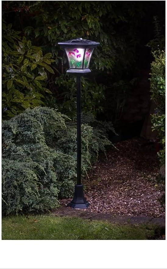 New exterior efecto de vidriera de flores Farola solar: Amazon.es: Jardín