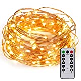 Kohree 60LEDs Christmas String Lights with Remote Control, AA Battery Powered on 20ft/6M Long Ultra Thin String Copper Wire,Seasonal Decor Rope Lights For Christmas, Wedding,Parties With Battery Box