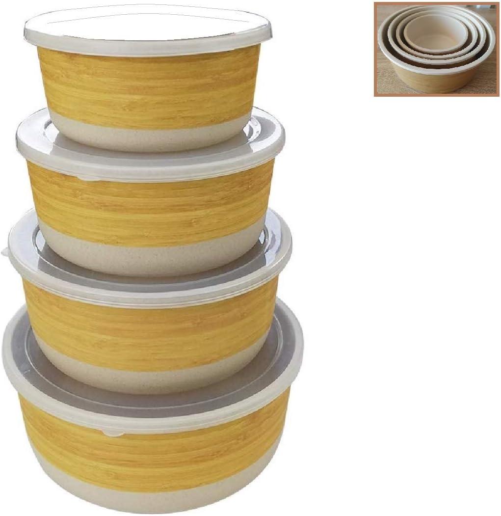 Tuper de Bambu - 4 Tupers de Fibra de Bambú Ecologicos - Material Organico, Reciclable, Biodegradable - Apto Lavavajillas - Resistente y Ligero - Eco, Bio, sin BPA ni Plastico - Apilables - Madera