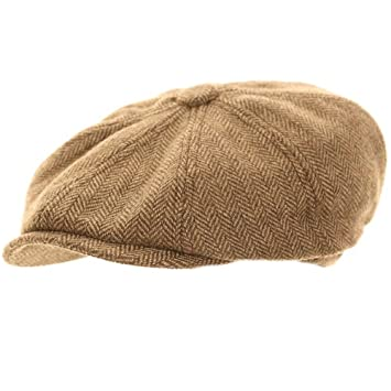 58025b0566 Wrapeezy Light Brown Herringbone Newsboy 8 Panel Baker Boy Tweed Flat Cap  Mens Gatsby Hat (60cm XL Xlarge 60 cm)