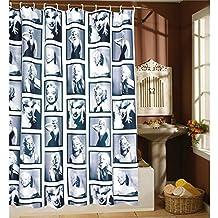 Whitelotous Shower Curtain Liner - Marilyn Monroe Pattern Waterproof Polyester Fabric Bathroom Shower Curtain Set Bathroom Decoration (71 x 71 Inch)