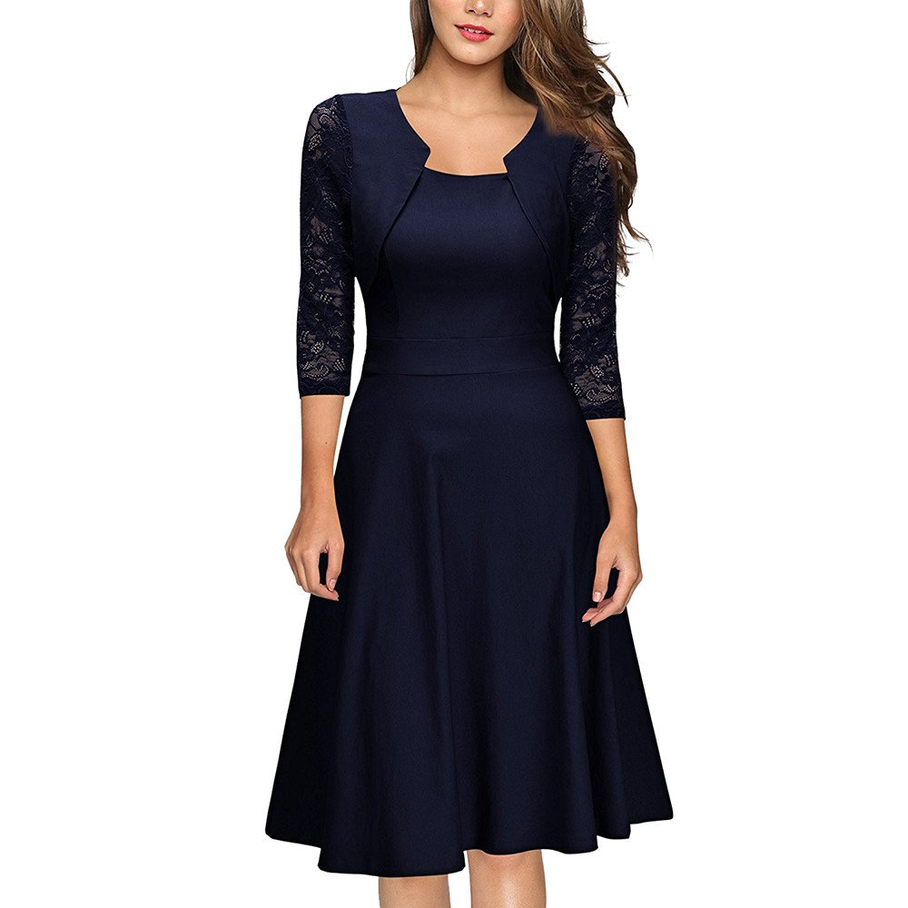 Womens Vintage Lace 3/4 Sleeve Midi Dress O-Neck Solid Patchwork Swing Cocktail Party Dress Wedding Formal Prom Kaitobe