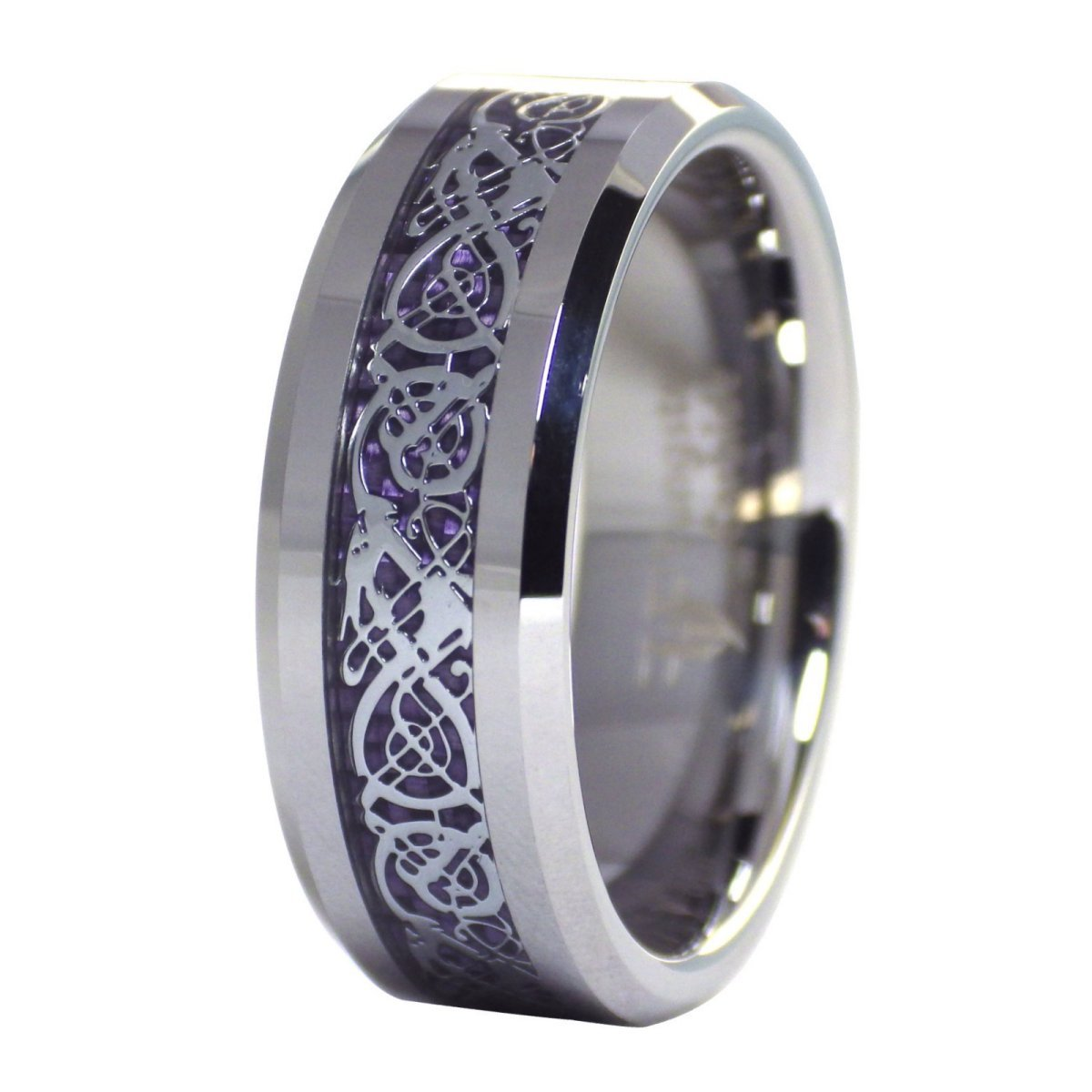 Fantasy Forge Jewelry Purple Celtic Dragon Ring Tungsten Wedding Band Size 11