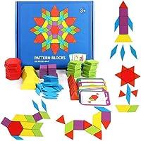 Banggoo 155 pieces Wood Pattern Blocks Set Geometric Shape Puzzle Kindergarten Classic Educational Montessori Tangram Toys with 24 pieces Design Cards