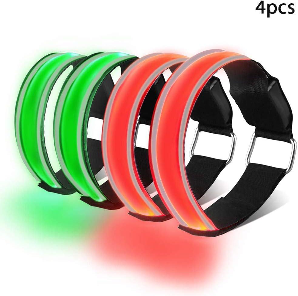 Vert Bande Clignotant Ajustable Bracelet Lumineux LED de S/écurit/é pour Enfant ou Adulte 2PCS Brassard Lumineux LED Rechargeable Brassard Reflechissant LED Running