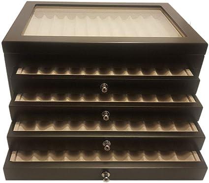 caja bolígrafos de madera con Vitrina caja Estuche para 56 plumas lacada Negro: Amazon.es: Relojes