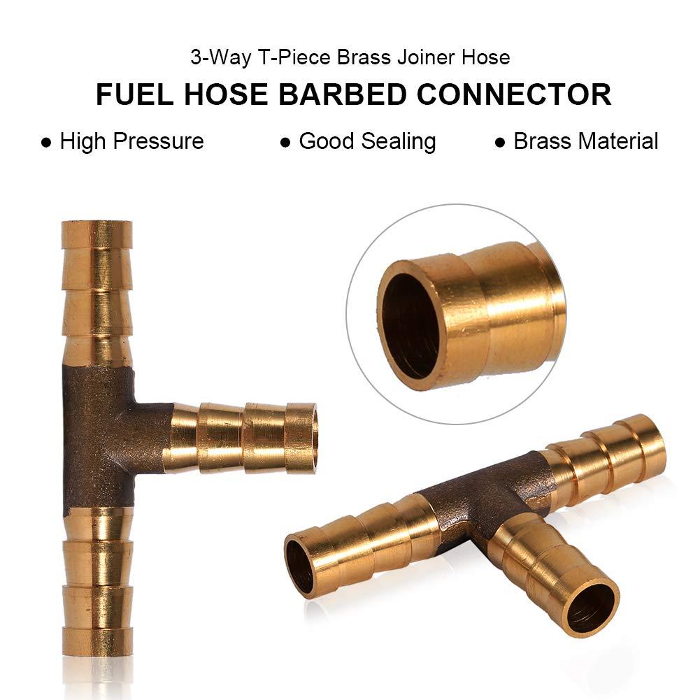 Conector para manguera de combustible 3 v/ías agua adaptador de manguera para combustible aceite de gas T-pieceBrass Joiner aire