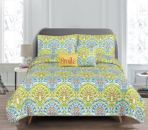 RT Designers Collection Dakota 5 Piece Printed Reversible Comforter Set, King,