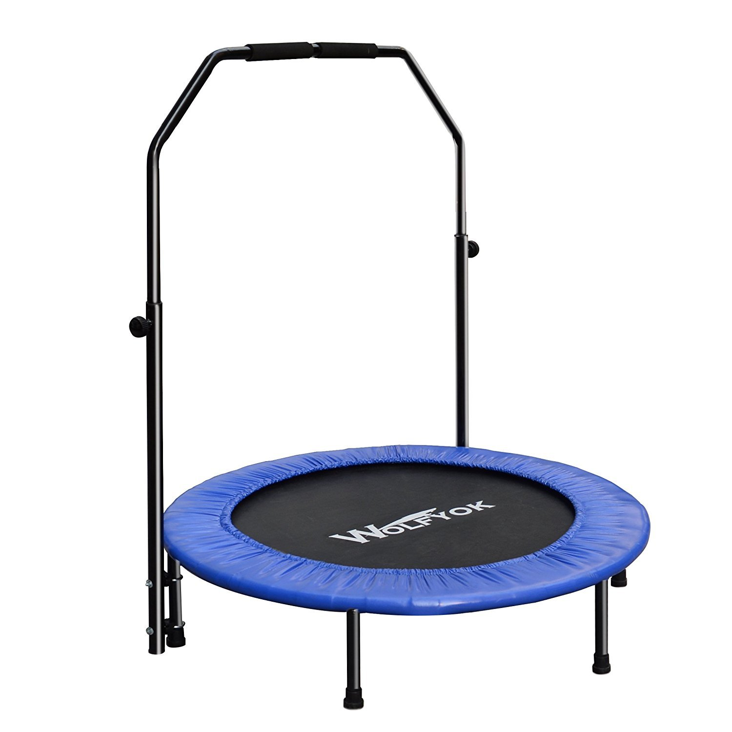 Wolfyok Fitness Trampoline with Safety Pad Adjustable Handle Bar Portable & Foldable Rebounder for Kids Adult Body Exercise Training Workout Max Load 220 lbs