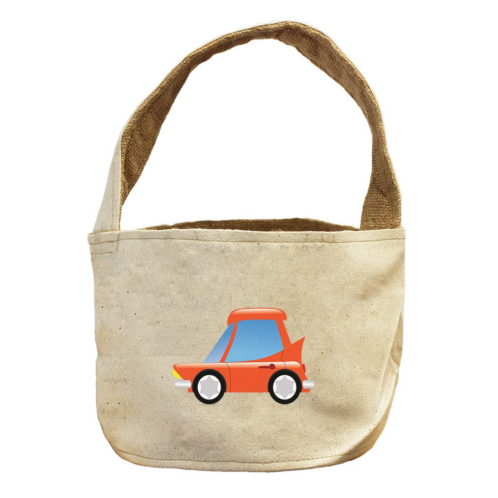 Style in Print Red Car with Large Windows Canvas and Burlap Storage Basket