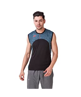 DIDA Men's Navy Polyster Regular Fit Sleeveless Quick Dry Sports T-Shirt (Teal, Large)