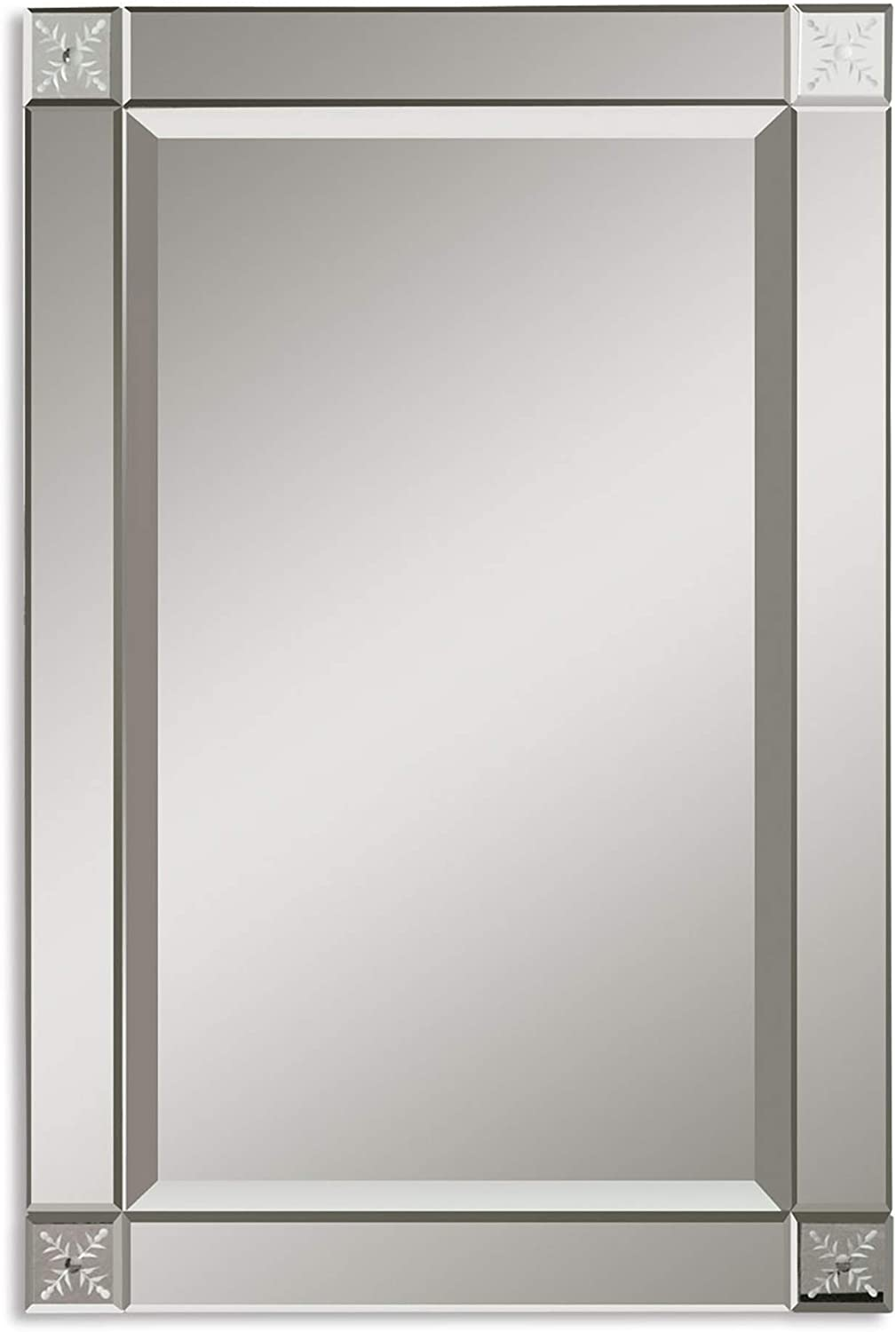 Amazon Com Diva At Home 31 Floral Etched Unframed Beveled Rectangular Wall Mirror Home Kitchen
