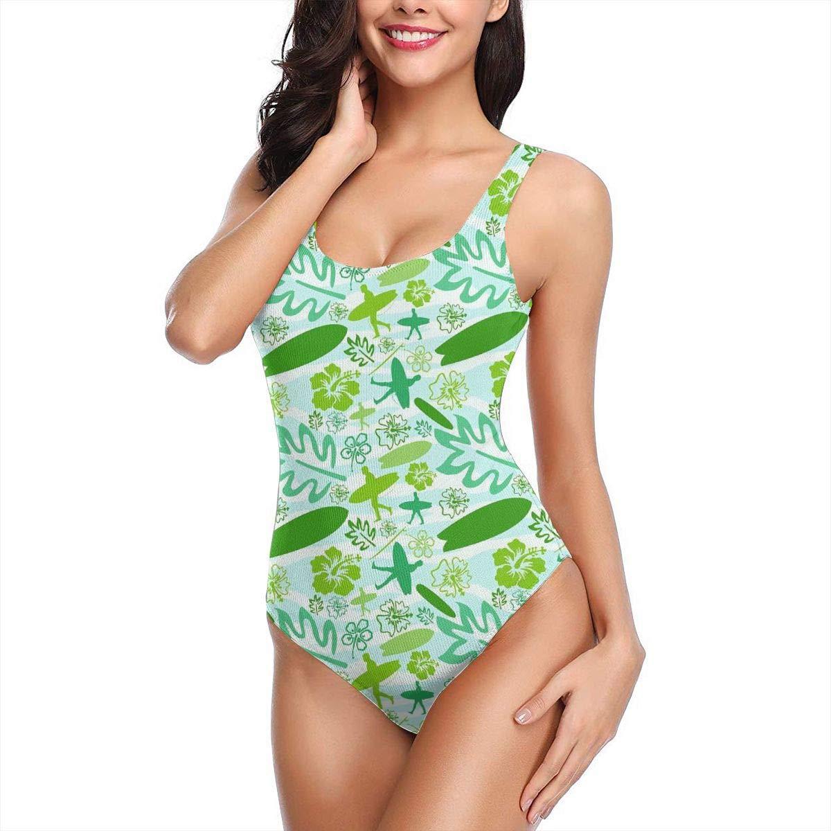 bb7dabca2487c Amazon.com: Women's One Piece Bathing Suit Summer Theme Decoration of Exotic  Plants Backless Swimwear U-Neck Swimsuits Monokini Swimsuits: Clothing