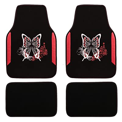 CAR PASS Embroidery Butterfly and Flower Universal Fit Car Floor Mats, Fit for Suvs,Sedans,Trucks,Cars, Set of 4(Black and Red): Automotive