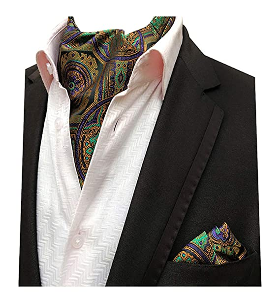 b82d3ebfc5ce MENDENG Ascot Ties and Pocket Square Sets for Men Paisley Floral Cravat  Gold at Amazon Men's Clothing store: