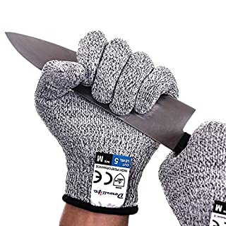 Dowellife Cut Resistant Gloves Food Grade Level 5 Protection, Safety Kitchen Cuts Gloves for Oyster Shucking, Fish Fillet Processing, Mandolin Slicing, Meat Cutting and Wood Carving, 1 Pair (Small)