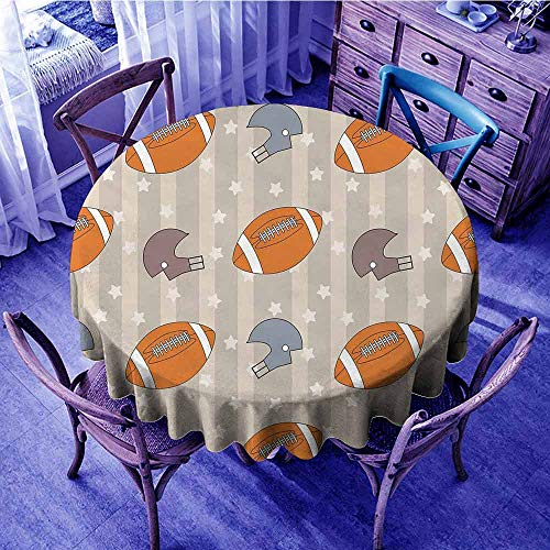 Football Christmas Tablecloth Faded Stars and Stripes with Classical Sports Symbols USA Retro Tile Garden Round Tablecloth Orange Mauve Slate Blue Diameter 60
