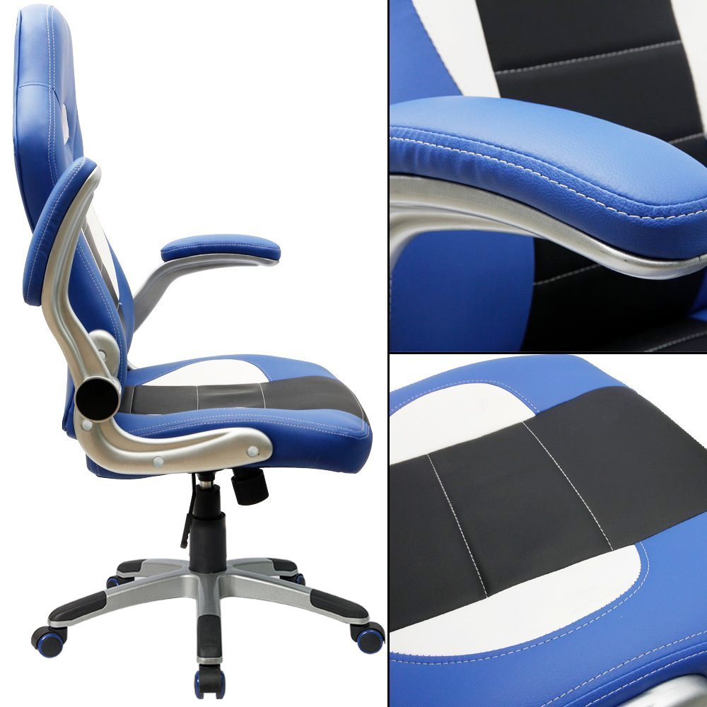 Popular Amazon Furmax Gaming Chair Executive Racing Style Bucket Seat PU Leather Office Chair Computer Swivel Lumbar Support Chair Blue Kitchen u Dining