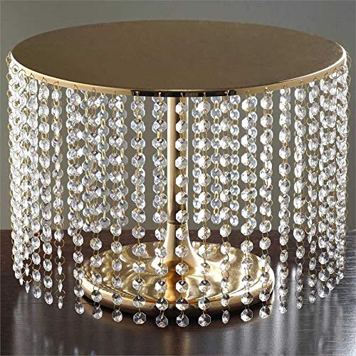 - Efavormart Gold Breathtaking Crystal Pendants Metal Chandelier Wedding Birthday Party Dessert Cake Display Plate - 12
