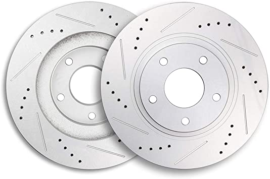 Front Discs Brake Rotors and Ceramic Pads For Infiniti G35 2002-2004 Drill Slot
