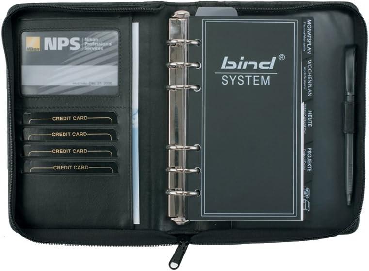 Bind 10100 - Agenda en estuche con cremallera (tamaño A6), color negro: Amazon.es: Oficina y papelería