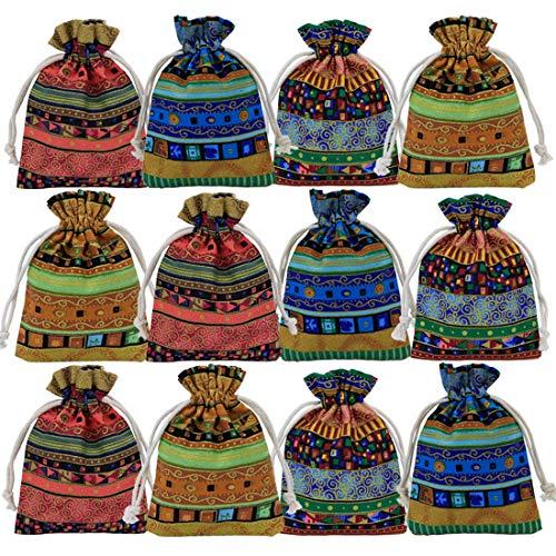 GemEwell 12pcs Egyptian Style Retro Cotton Canvas Sachet, Drawstring Coin Purse, Jewelry Pouch Bag,Gift Bag Value Set (with 1 Ceramic Bracelet) (Mid Size(4