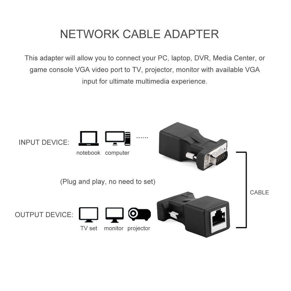 Justdodo Extensor VGA gen/érico Hembra//Macho a LAN CAT5 CAT6 RJ45 Cable de Red Adaptador Dada Cable de Transferencia para computadora Personal-Negro-1 Tama/ño