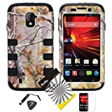 4 items Combo: Mini Stylus Pen + LCD Screen Protector Film + Case Opener + Pine Tree Leaves Camouflage Outdoor Wildlife Design Rubberized Hard Plastic + Soft Rubber TPU Skin Dual Layer Tough Hybrid Case for ZTE Majesty / Z796c - StraightTalk, ZTE Source / N9511 - Cricket