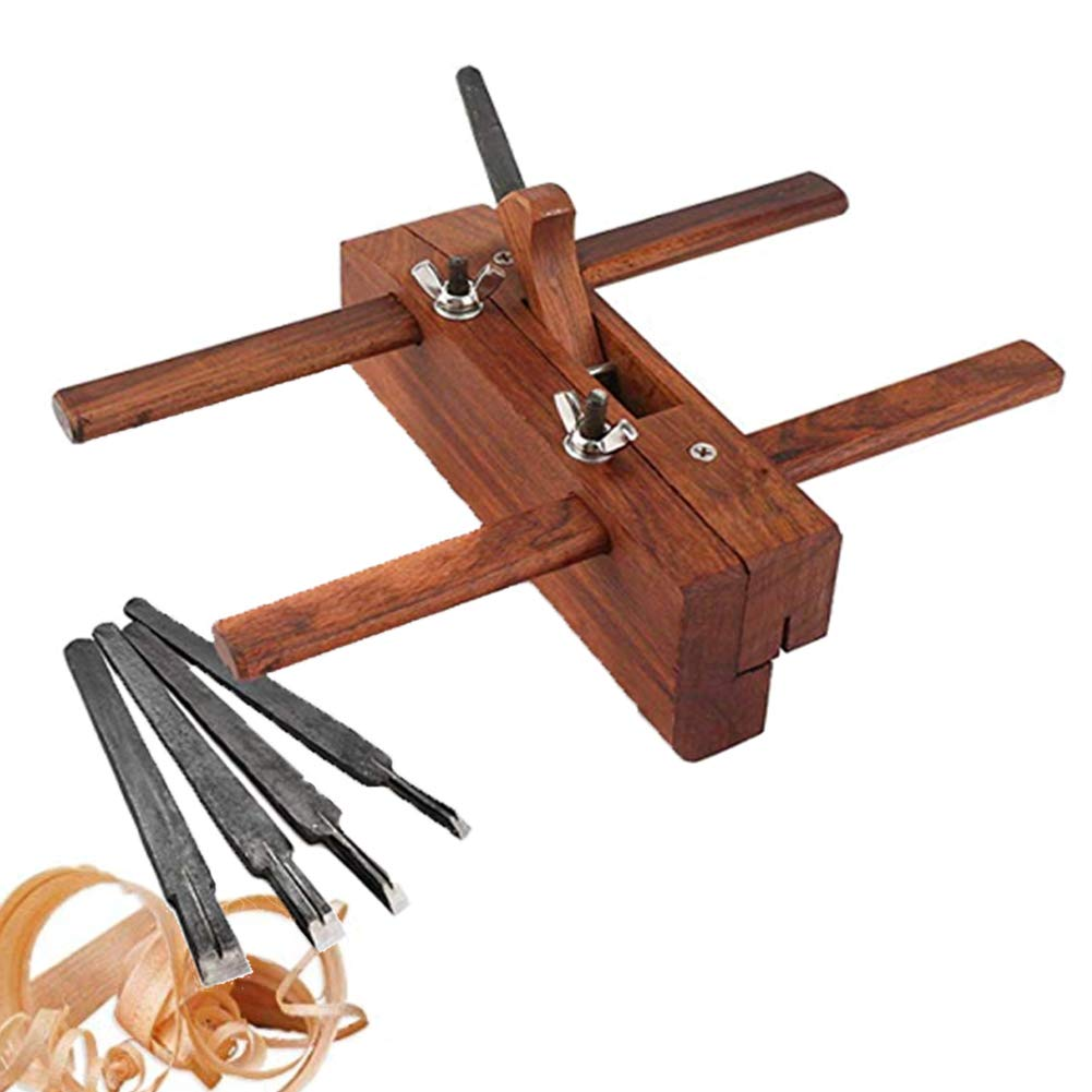 Rabbet Plane, Hand Wood Planer DIY Plough Plane Slot Grooving Wood Plane Shoulder Plane Adjustable Hand Plane for Carpenter Woodcarver with 5 Planer Blades