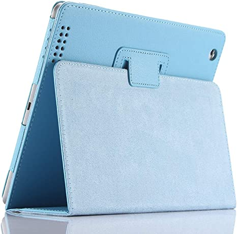 for Apple iPad 2//3//4 Navy Flip Stand,Sleep Function iPad 2 3 4 Case,FANSONG Bi-fold Series Litchi Stria Ultra Thin Magnetic PU Leather Smart Protective Cover Case