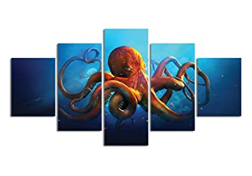 Meigan Art  5 Pieces Deep Sea Octopus Wall Art Painting The Picture Print On