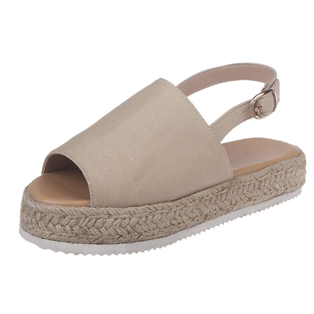 ❤SSYongxia❤ Girl Women's Comfort Casual Espadrille Trim Rubber Sole Flatform Wedge Buckle Ankle Strap Open Toe Sandals Beige