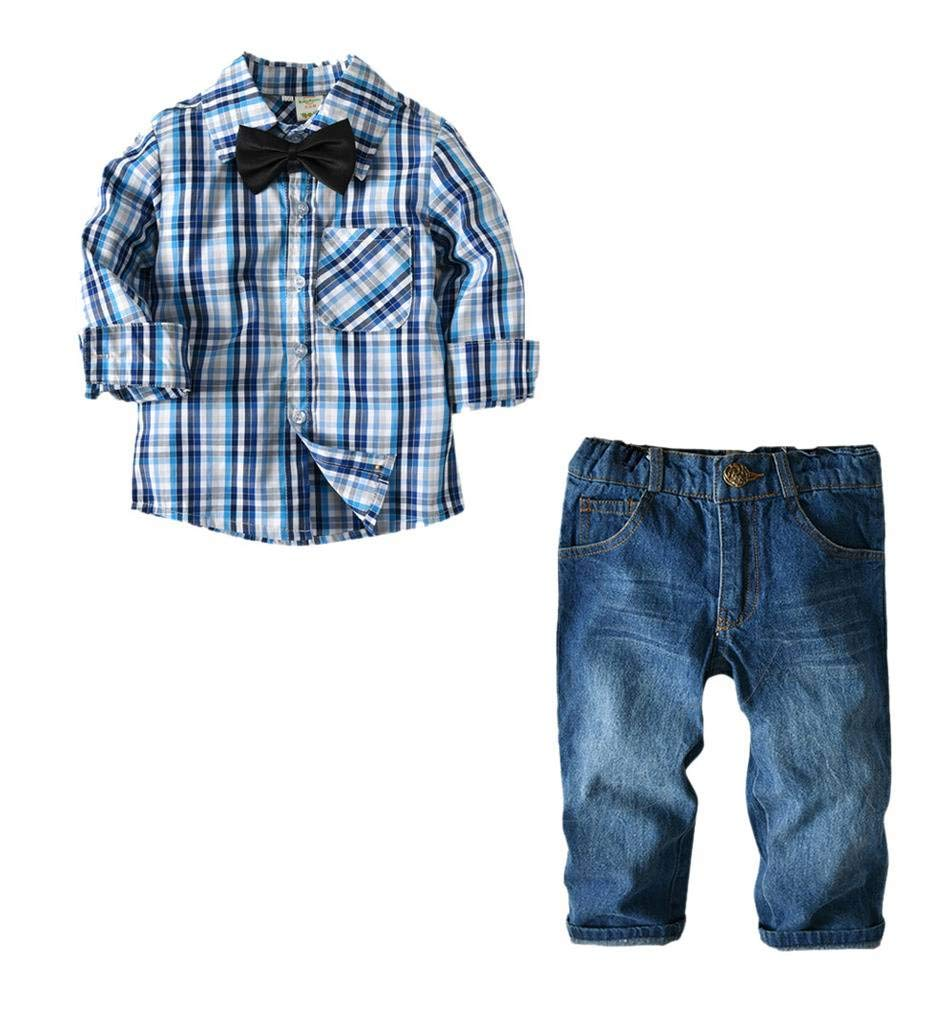 JANYN 2pcs Baby Boy Gentle Dress Clothes Relaxed fit Outfits Formal Suits Set Shirt + Pants