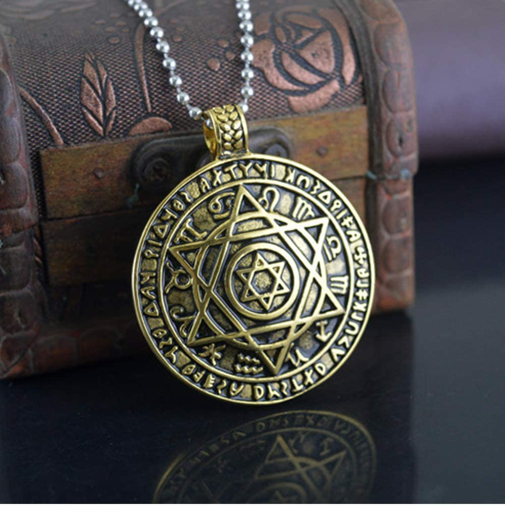 JAJAFOOK Mens Retro Stainless Steel Six-Pointed Star Round Pendant Gothic Cycling Necklace 24