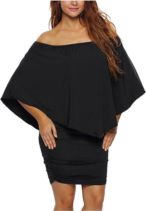 Women Off Shoulder Ruffles Bodycon Mini Dress