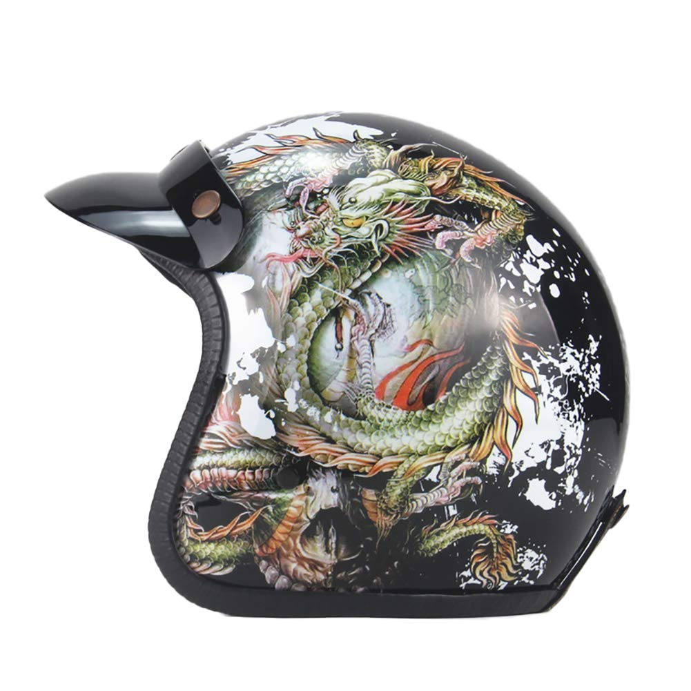 6 Medium Motorcycle Helmet Retro Locomotive 3 4 Half Helmet Men and Women Riding Head Predection