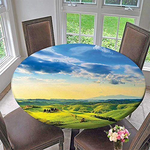 Mikihome Elasticized Table Cover Sunset in Tuscany Rural Farm Cypresses Trees Sun Light Volterra Italy Europe. Machine Washable 40
